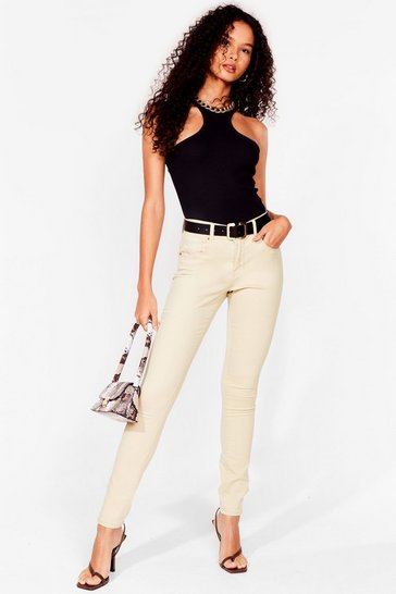Beige Button It Mid-Rise Skinny Jeans