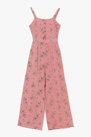 Pink Sitting in the Mornin' Sun Floral Belted Jumpsuit