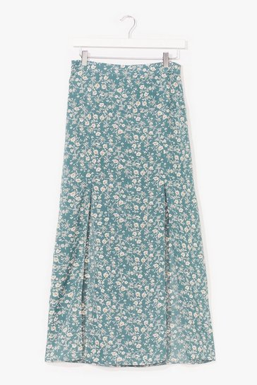 Sage Floral Double Slit Midi Skirt