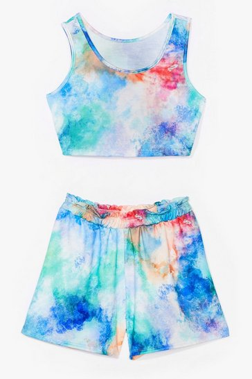 Blue tie dye crop top and short co ord set