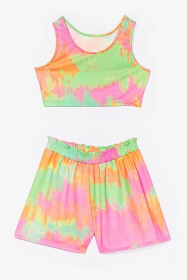 Green tie dye crop top and short co ord set