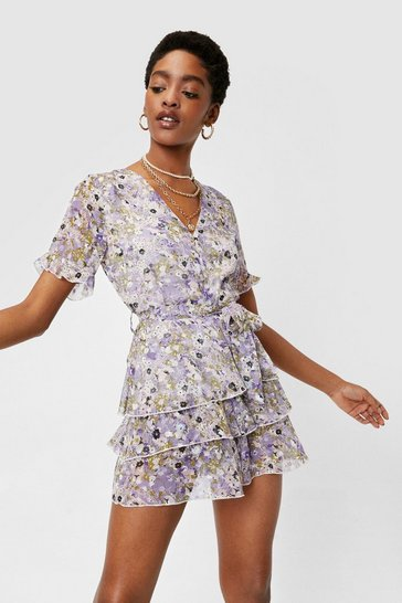Lilac Feeling Fresh Floral Belted Romper