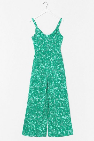 Green Take the Seed Floral Wide-Leg Jumpsuit