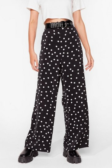 Black We've Polka Dot Tonight Wide-Leg Pants