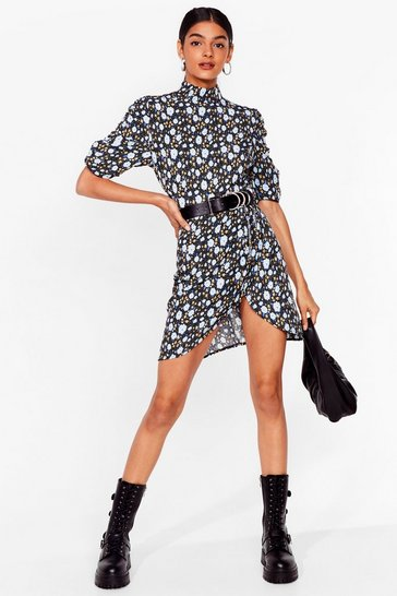 Blue Seed You There Floral Mini Dress