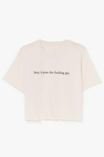 Natural Pass the Gin Cropped Graphic Tee