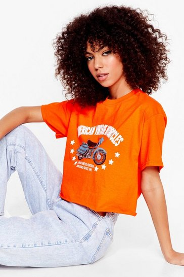 Orange Hop On Motorcycle Graphic Tee