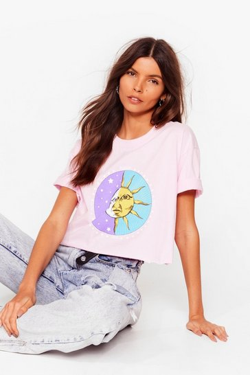 Pink Moonlight Dancing Sun Moon Cropped Graphic Tee