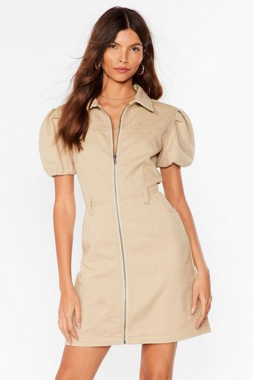 Oatmeal ZipThrough Puff Sleeve Mini Dress
