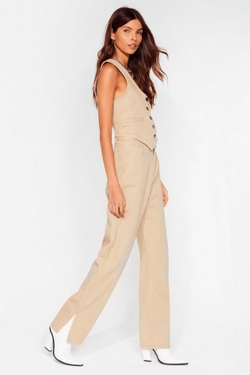 Oatmeal Get Over Slit Straight-Leg Jeans