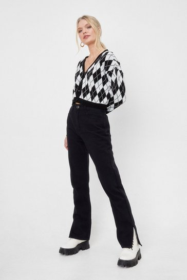 Washed black Get Over Slit Straight-Leg Jeans