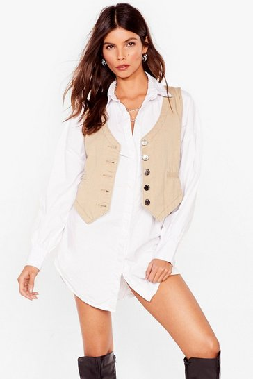 Oatmeal Get Over Slit Button-Down Denim Vest