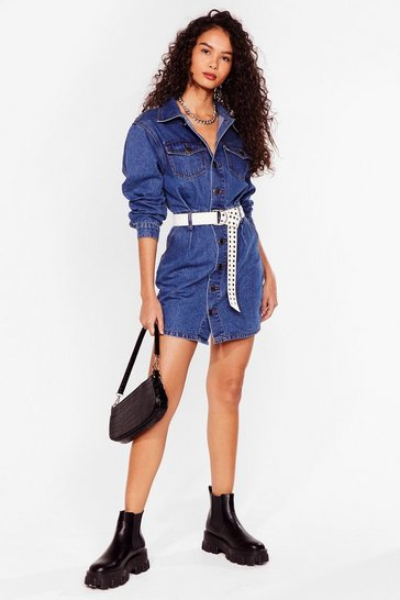 Blue BUTTON THROUGH DENIM MINI DRESS