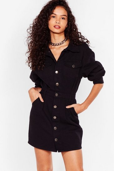 Washed black BUTTON THROUGH DENIM MINI DRESS