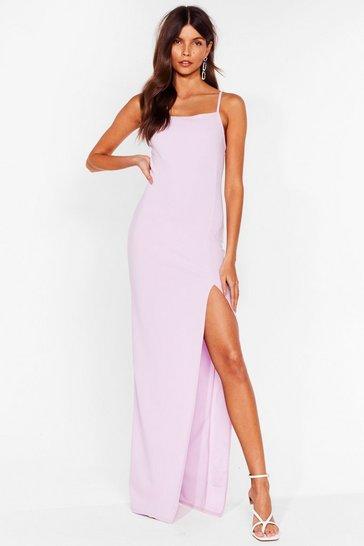 Lilac It's a Long Story Slit Maxi Dress