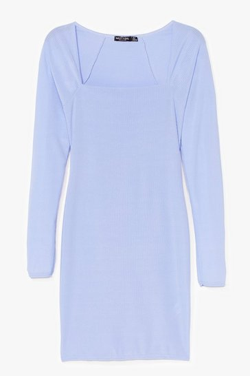 Cornflower At Your Square Neck and Call Ribbed Mini Dress