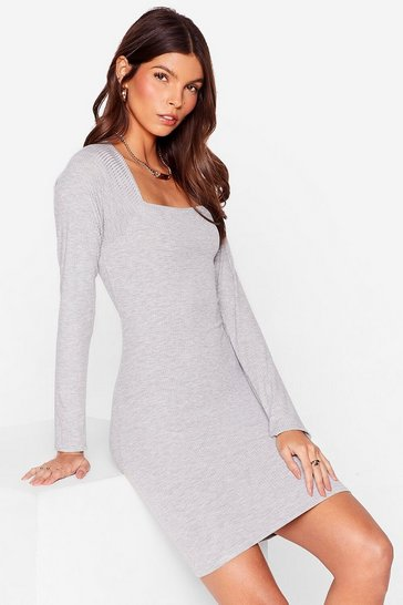 Grey At Your Square Neck and Call Ribbed Mini Dress