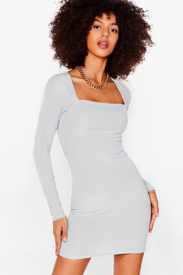 Sage At Your Square Neck and Call Ribbed Mini Dress