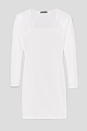 White At Your Square Neck and Call Ribbed Mini Dress
