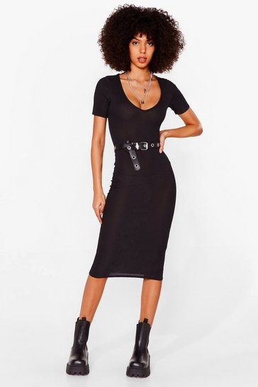 Black Ribbed Scoop Neck Fitted Midi Dress