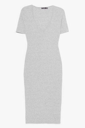 Grey marl Ribs Got to be You Fitted Midi Dress