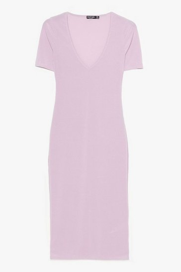 Lilac PLUNGE RIBBED BODYCON DRESS