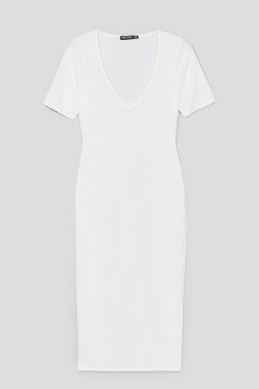White Ribs Got to be You Fitted Midi Dress