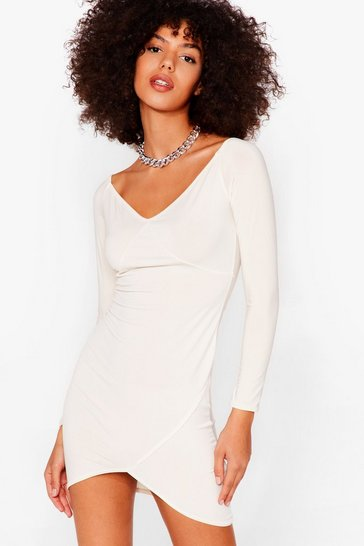 Cream Here Today Bodycon Tomorrow Mini Dress