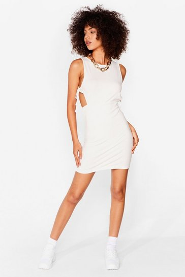 Oatmeal Side Cut Out Ribbed Bodycon Dress