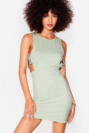 Sage Cut Outta Here Ribbed Mini Dress