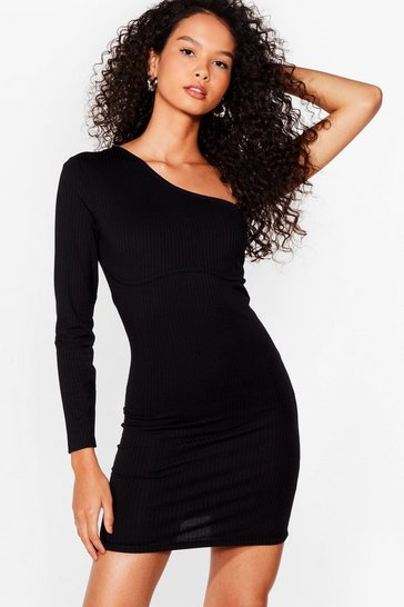 Black Seams Like Fun One Shoulder Mini Dress