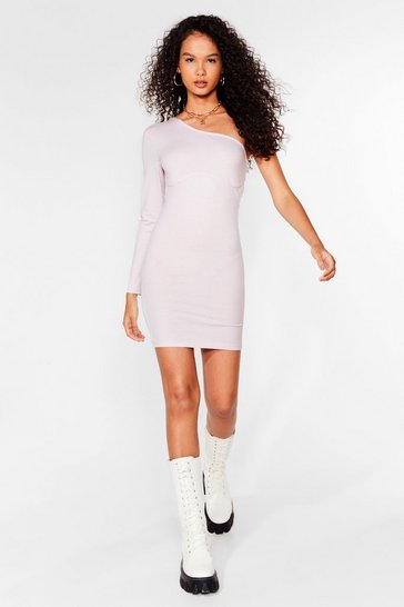 Lavender Seams Like Fun One Shoulder Mini Dress