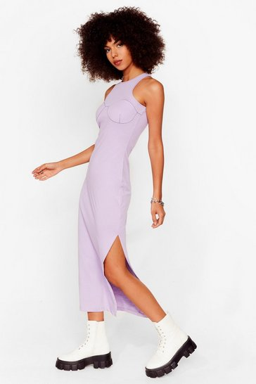 Lavender Explain the Stitch-uation Racer Midi Dress