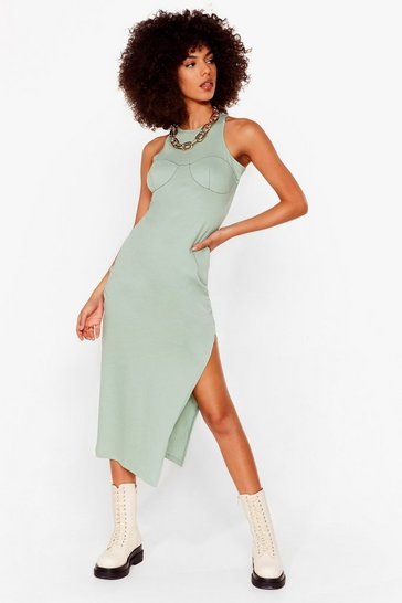 Sage Explain the Stitch-uation Racer Midi Dress