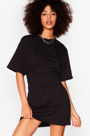 Black Corset the Stage Mini Tee Dress