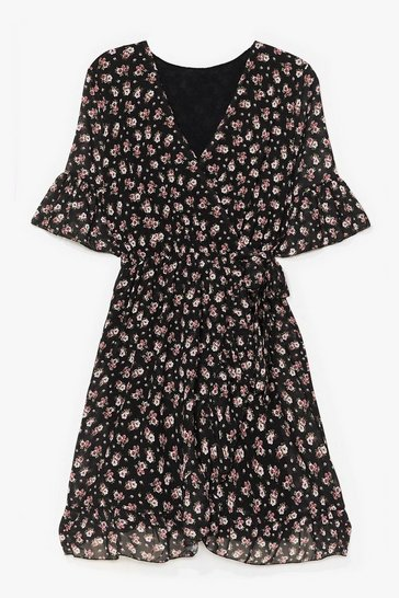 Black Good to Grow Floral Wrap Mini Dress