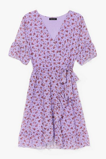 Lilac Good to Grow Floral Wrap Mini Dress