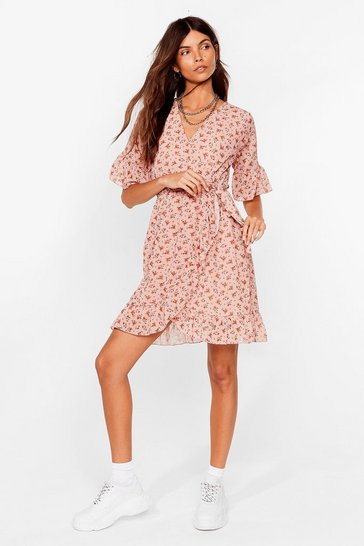 Peach Good to Grow Floral Wrap Mini Dress