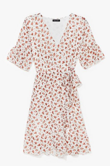 White Good to Grow Floral Wrap Mini Dress