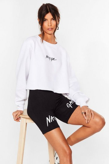 White Nasty Gal Word on the Street Cropped Sweatshirt