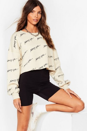 Sand Nothing But a Nasty Gal Cropped Sweatshirt