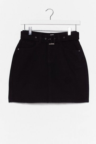 Black Buckle Detail Mini Skirt