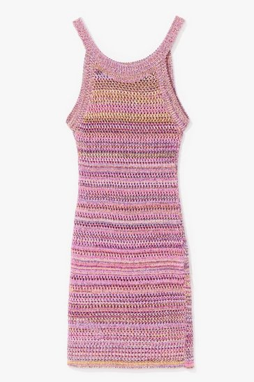 Pink Check If They're Crochet Striped Mini Dress