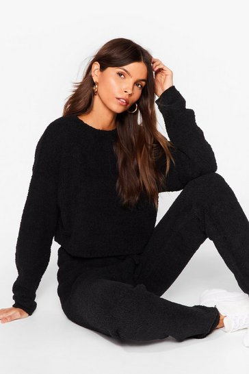 Black Soften the Blow Fluffy Knit Joggers