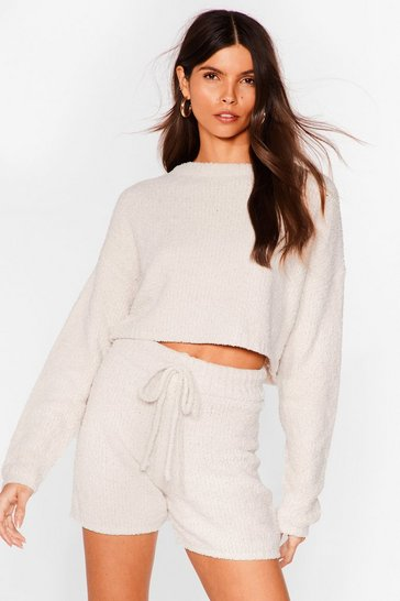 Cream Soften the Blow Fluffy Knit Cropped Sweater