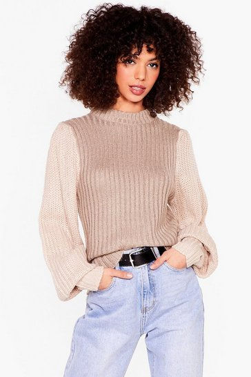 Oatmeal I'll Set the Two-Tone Knit Sweater