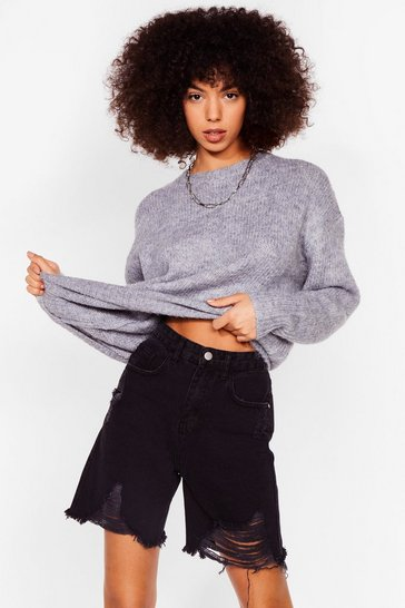 Blue Knitted Crew Neck Sweater