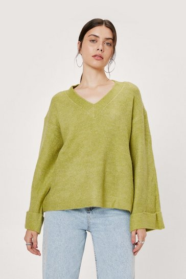 Green V There Soon Relaxed Knitted Sweater
