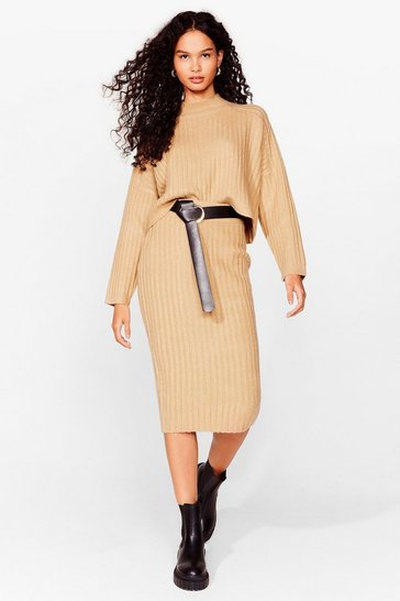 Mushroom Tell Me About Knit Ribbed Midi Skirt