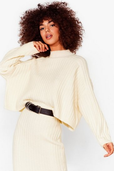 White Tell Me About Knit Ribbed High Neck Sweater